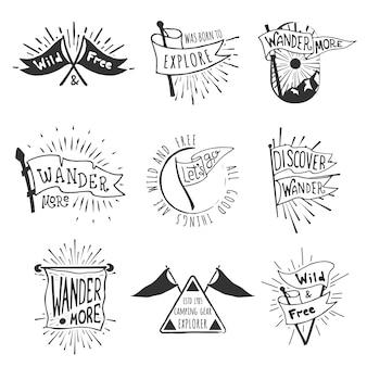 Conjunto de emblemas de bandeira de aventura e ao ar livre.