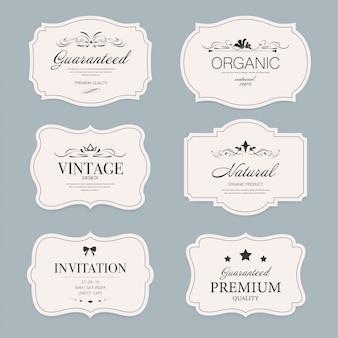 Conjunto de emblemas de banner de rótulo vintage.