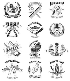 Conjunto de emblemas de barbearia vintage.
