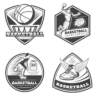 Conjunto de emblemas de basquete vintage