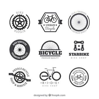 Conjunto de emblemas de bicicleta em estilo vintage