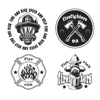 Conjunto de emblemas de bombeiro isolado no branco.