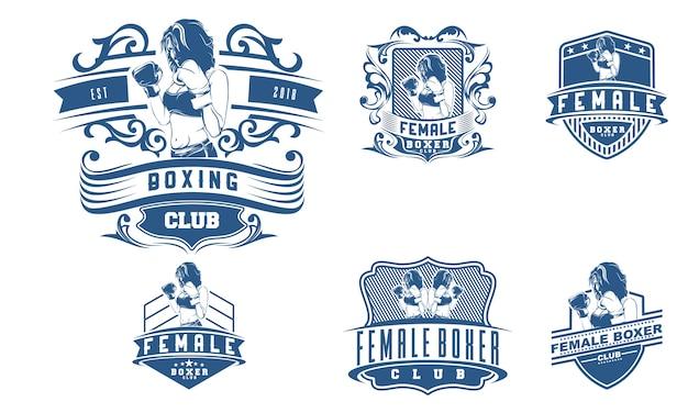 Conjunto de emblemas de boxe feminino vintage
