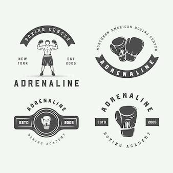 Conjunto de emblemas de boxe vintage