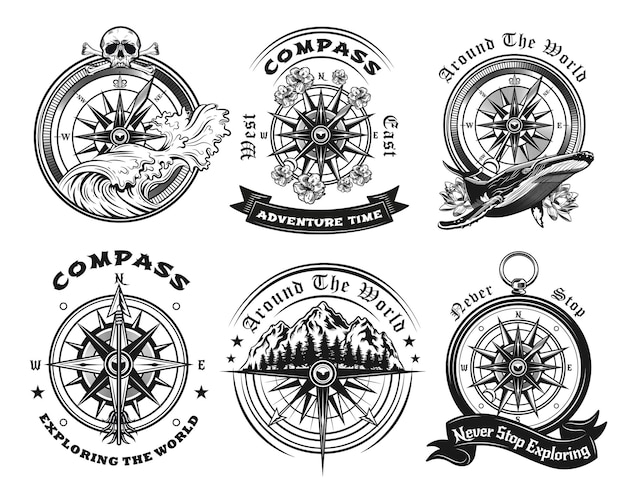 Conjunto de emblemas de bússola