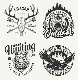 Conjunto de emblemas de caça vintage