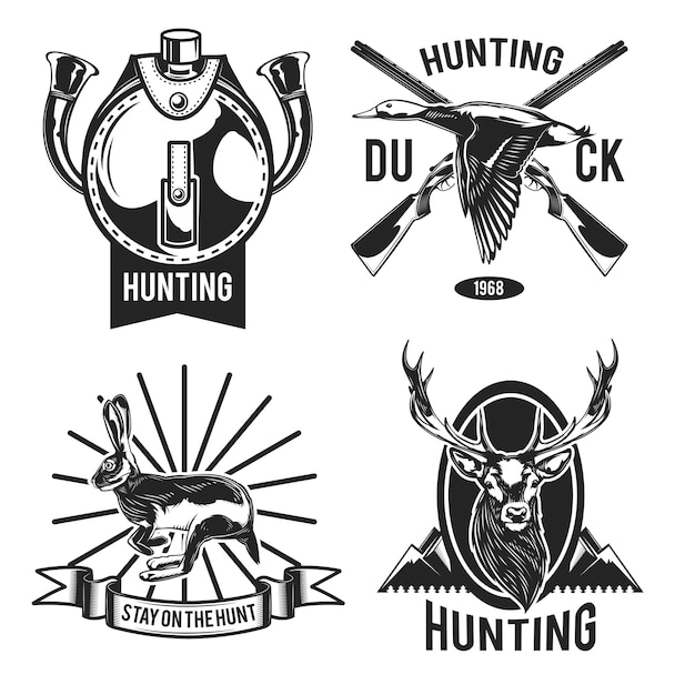 Conjunto de emblemas de caça