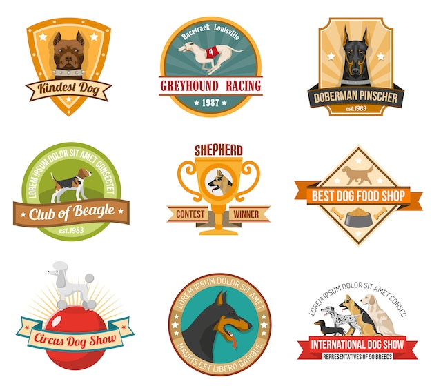 Conjunto de emblemas de cães