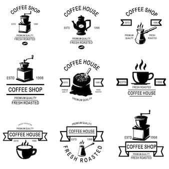 Conjunto de emblemas de cafeteria