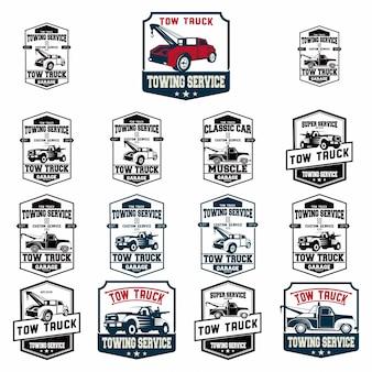 Conjunto de emblemas de caminhão de reboque de carros antigos