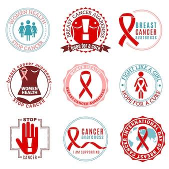 Conjunto de emblemas de câncer de mama