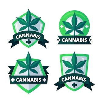 Conjunto de emblemas de cannabis medicinal