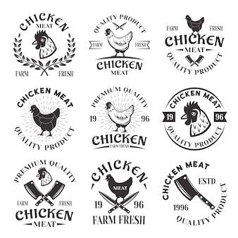 Conjunto de emblemas de carne de frango