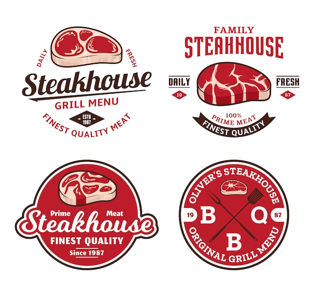 Conjunto de emblemas de carnes ou churrascarias