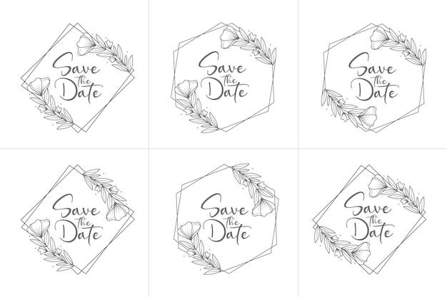 Conjunto de emblemas de casamento florais mínimos desenhados à mão