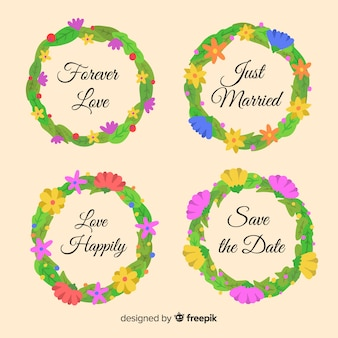 Conjunto de emblemas de casamento floral mão desenhada