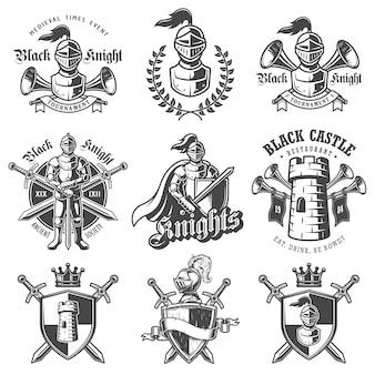 Conjunto de emblemas de cavaleiros monocromáticos