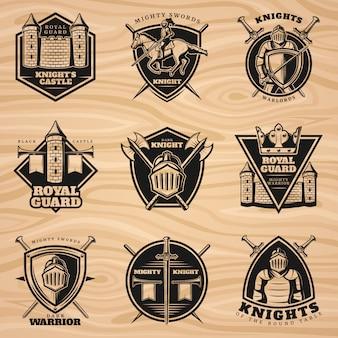 Conjunto de emblemas de cavaleiros vintage preto
