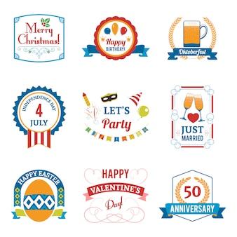 Conjunto de emblemas de celebração de férias