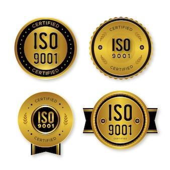Conjunto de emblemas de certificação iso