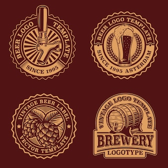 Conjunto de emblemas de cerveja vintage em preto e branco