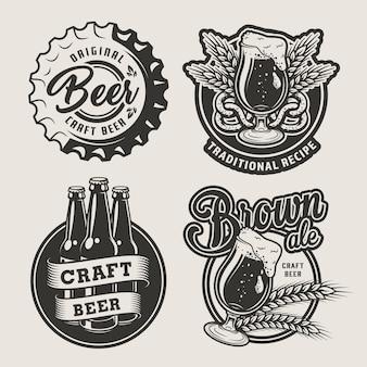 Conjunto de emblemas de cerveja vintage