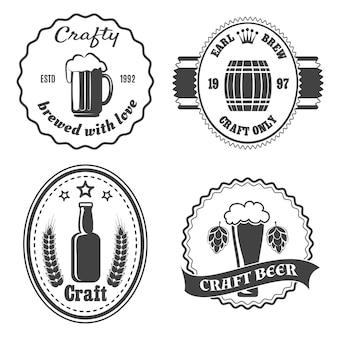 Conjunto de emblemas de cervejaria artesanal,