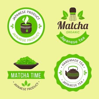 Conjunto de emblemas de chá matcha verde