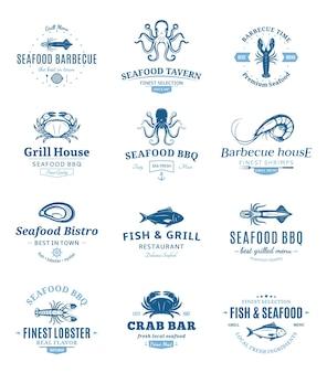 Conjunto de emblemas de churrasco de frutos do mar
