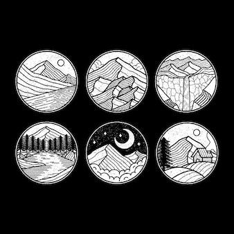 Conjunto de emblemas de círculo monoline ao ar livre