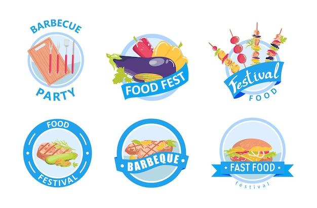 Conjunto de emblemas de comida grelhados