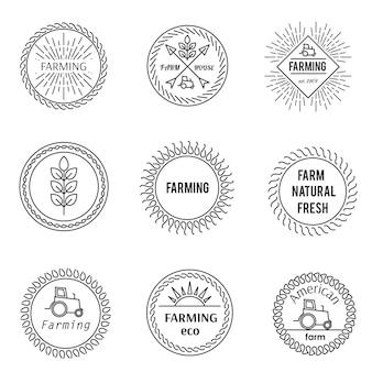 Conjunto de emblemas de contorno