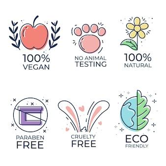 Conjunto de emblemas de crueldade ilustrados