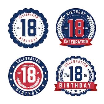 Conjunto de emblemas de décimo oitavo aniversário