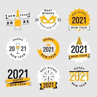 Conjunto de emblemas de design plano para o ano novo 2021