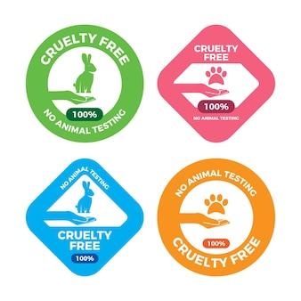 Conjunto de emblemas de design plano sem crueldade