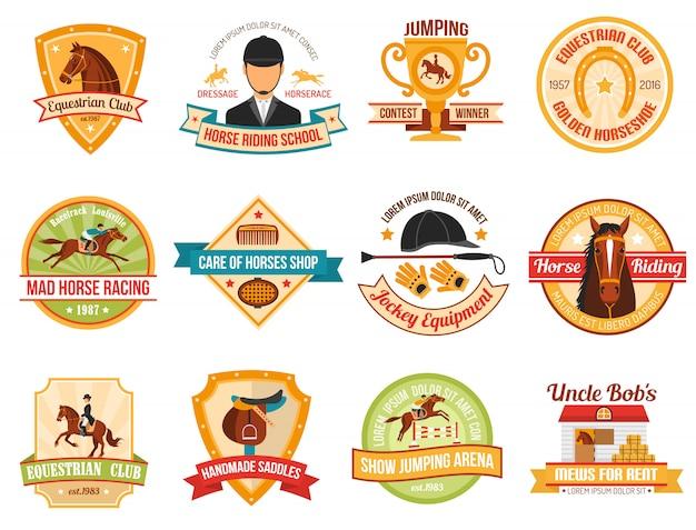 Conjunto de emblemas de desporto de cavalo