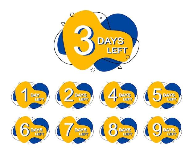 Conjunto de emblemas de dias restantes para promoção no estilo de memphis.