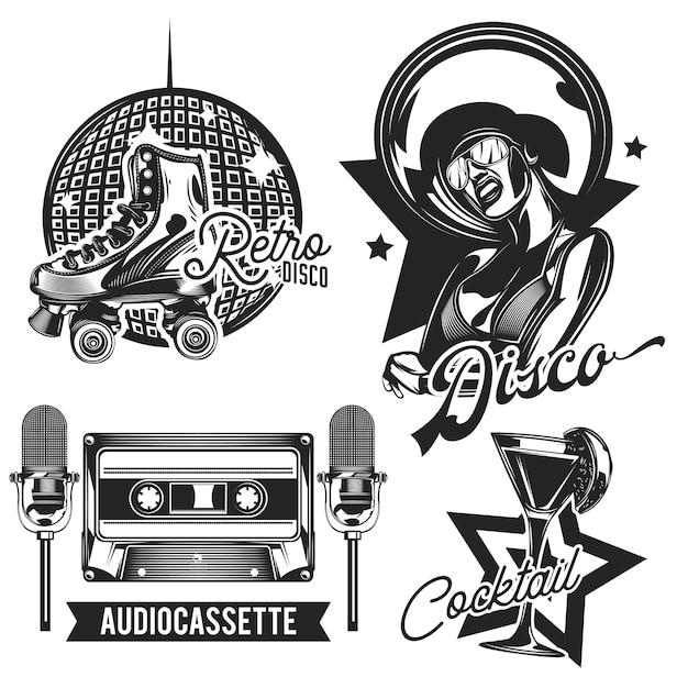 Conjunto de emblemas de discoteca