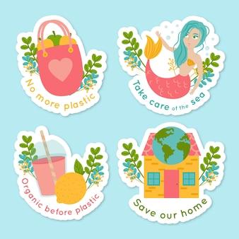 Conjunto de emblemas de ecologia mão desenhada