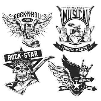 Conjunto de emblemas de elementos de rock (caveira, bota, bateria, asas, guitarra, palhetas), etiquetas, emblemas, logotipos.
