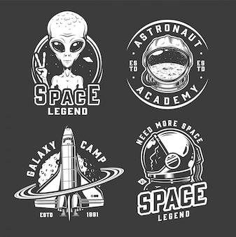 Conjunto de emblemas de espaço e galáxia