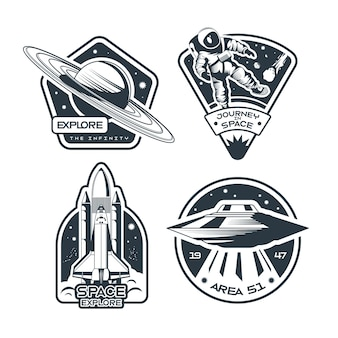 Conjunto de emblemas de espaço em preto e branco