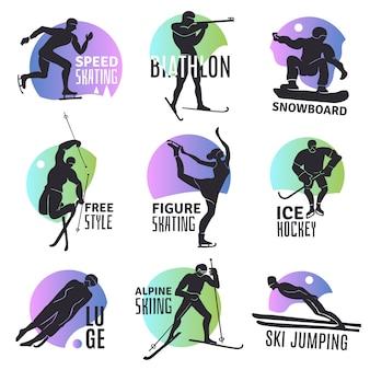 Conjunto de emblemas de esportes de inverno