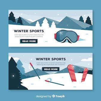 Conjunto de emblemas de esqui e neve de mão desenhada