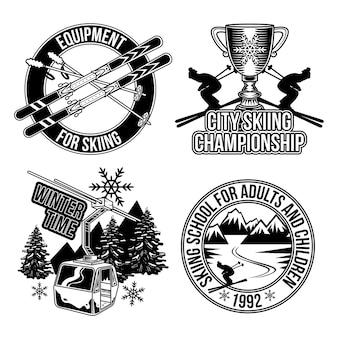 Conjunto de emblemas de esqui