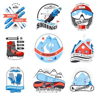 Conjunto de emblemas de estância de esqui