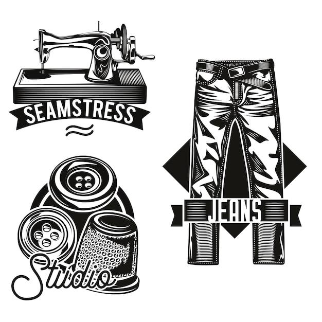 Conjunto de emblemas de estúdio de costura