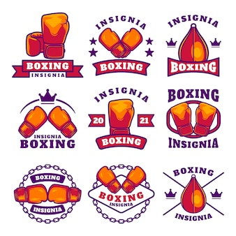 Conjunto de emblemas de etiquetas do clube de boxe, elementos de design relacionados ao boxe para gravuras, logotipos ou pôsteres