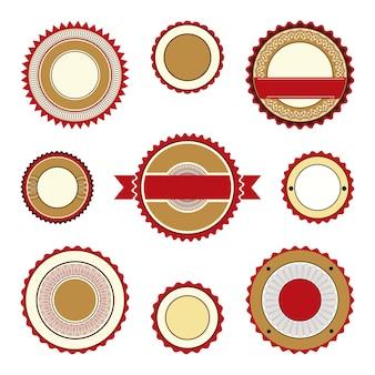 Conjunto de emblemas de etiquetas vazias e adesivos com elementos guilhoché nas cores marrom e bordô